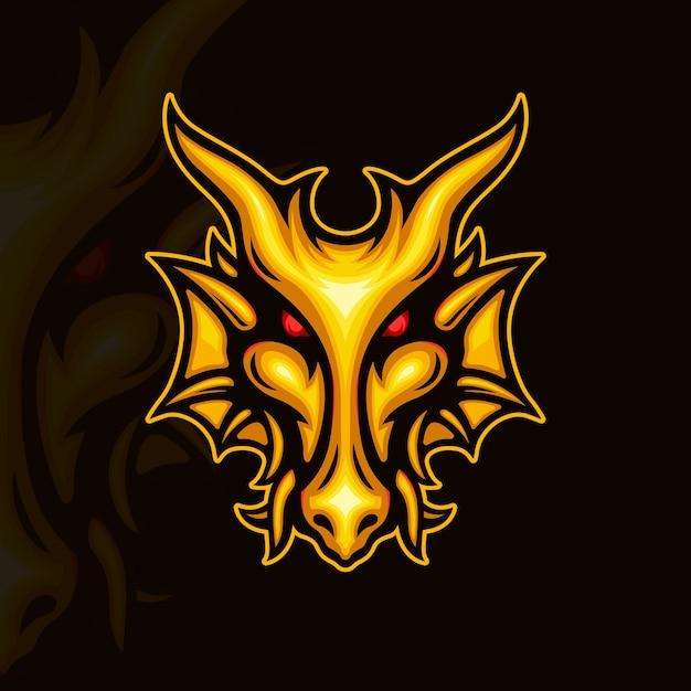 黄金のドラゴンの顔のイラスト Premiumベクター