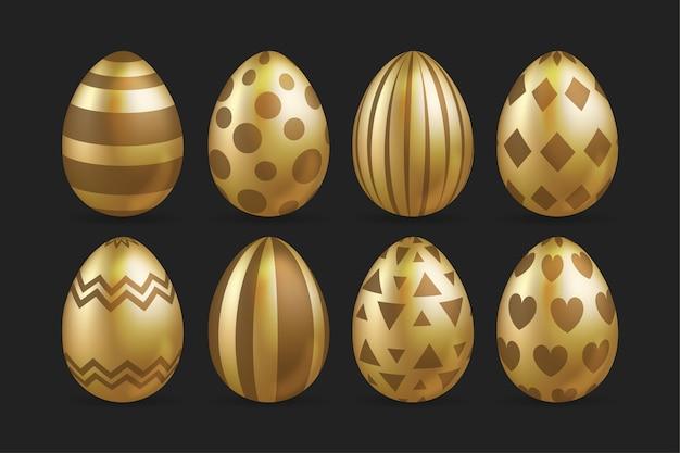 ゴールデンイースターの日卵コレクション 無料ベクター