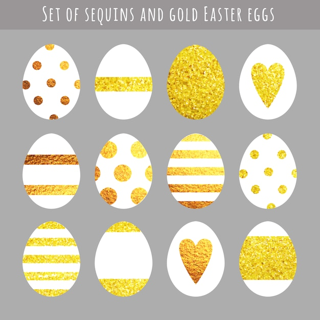 Golden easter eggs collection Free Vector