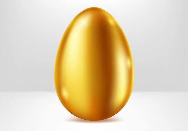 Golden egg, festive metal gift realistic Free Vector