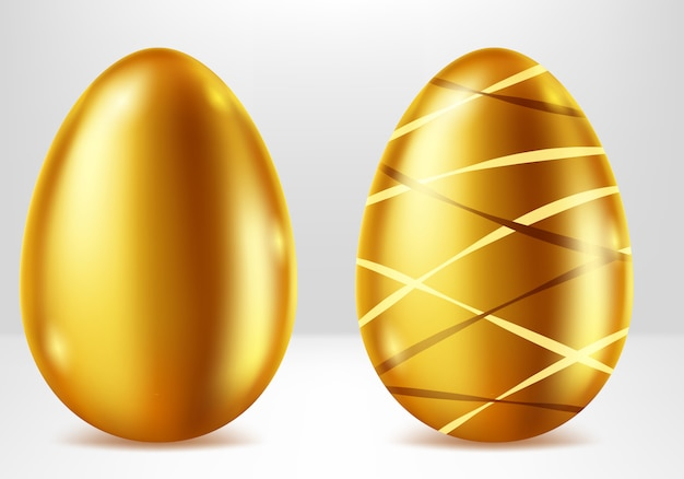 Golden eggs, easter metal gift realistic Free Vector