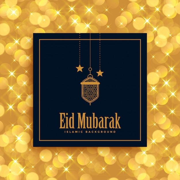 Golden eid mubarak lovely festival greeting Free Vector