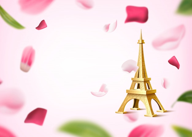 Golden eiffel tower on background of blurred rose flower petal and leaves. romantic, vintage background Premium Vector