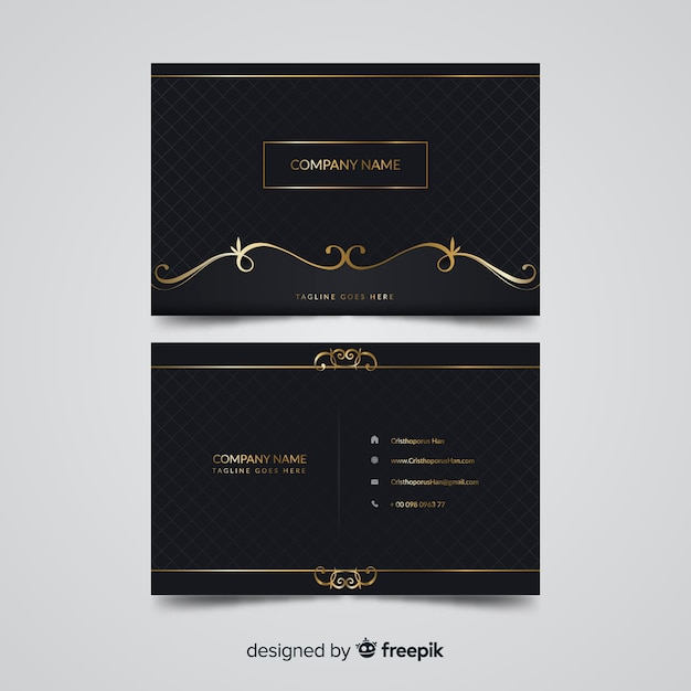 Golden elegant business card template Free Vector