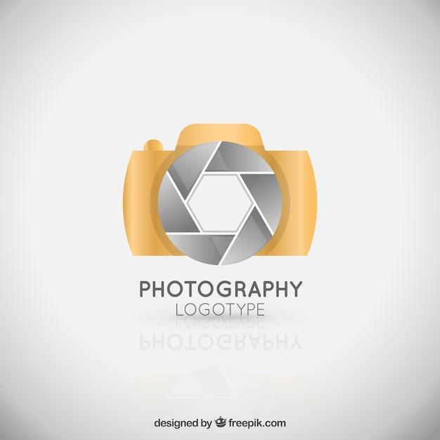 golden elegant camera logo vector free download