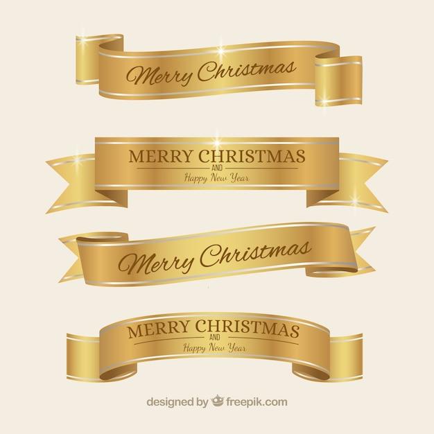 Golden elegant christmas ribbons Free Vector