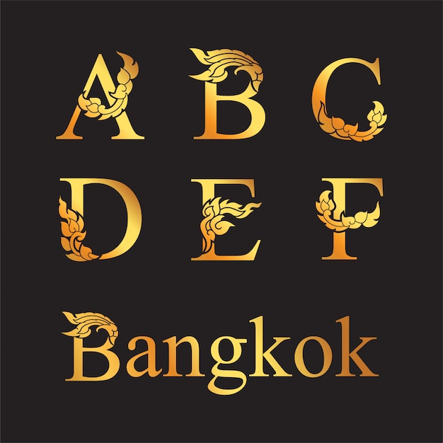 Golden elegant letter a, b, c, d, e, f with thai art elements. Premium Vector
