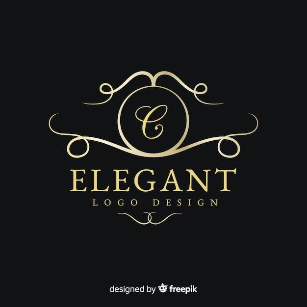Golden elegant logo flat design Free Vector