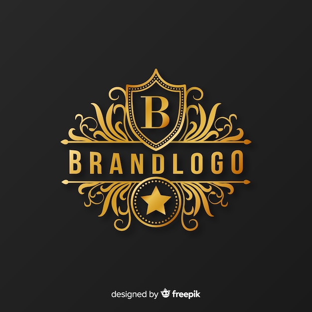 Golden elegant logo template with ornaments Free Vector