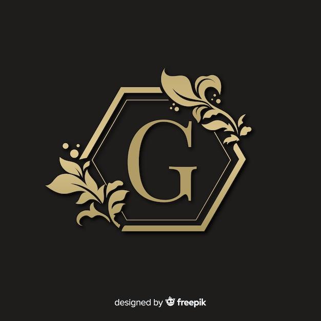 Golden elegant logo with frame Free Vector