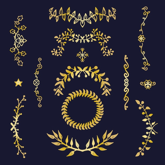 Golden elegant ornament collection Free Vector