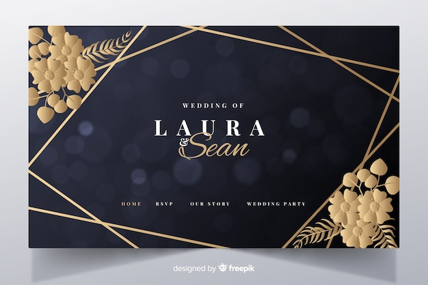 Golden elegant wedding landing page template Free Vector