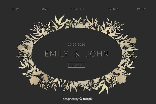 Golden elegant wedding landing page Free Vector