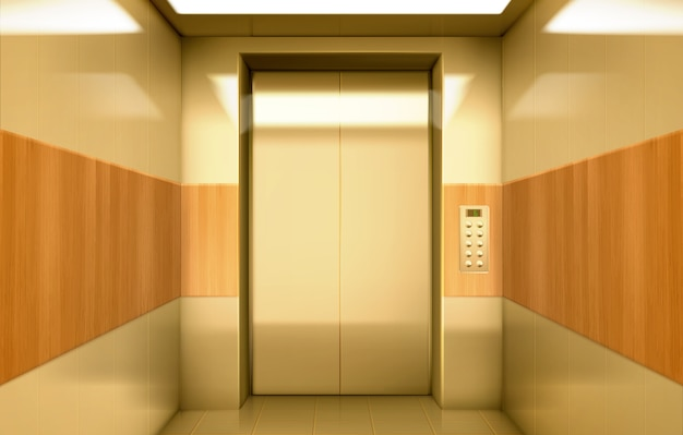 Cabina ascensore dorata con porte chiuse all'interno Vettore gratuito