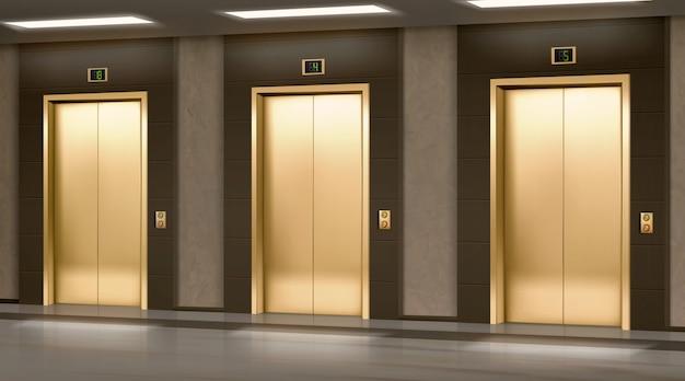 복도에 닫힌 문을 가진 황금 엘리베이터 무료 벡터