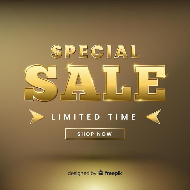 Golden elgant sales banner template Free Vector