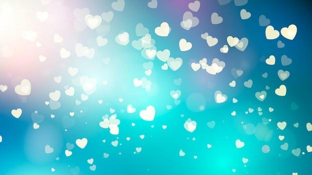 Золотые падающие сердца в голубом небе. день святого валентина абстрактный фон с сердечками. иллюстрация Premium векторы