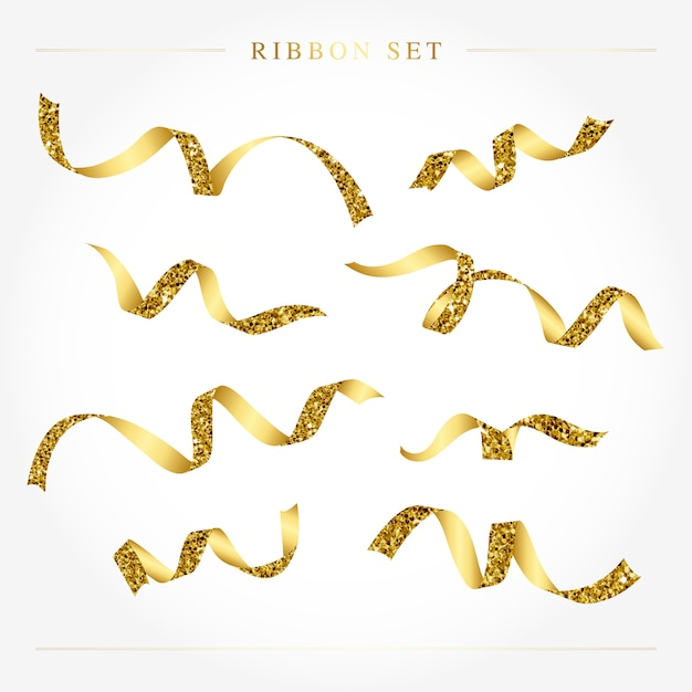 Golden festive ribbon set vector Free Vector