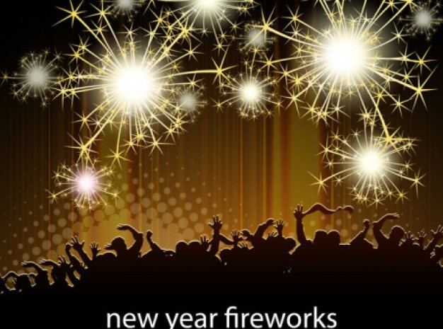 Golden fireworks new year celebrating crowd\ vector