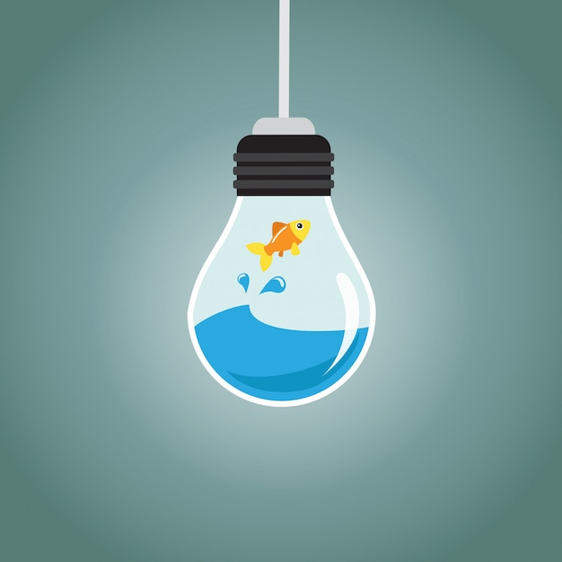 Golden fish jumping in the water of a bulb Premium Vector