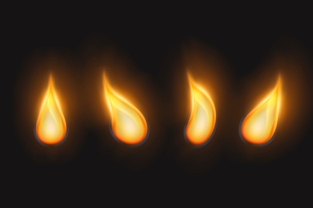 Golden flames of candles set Free Vector