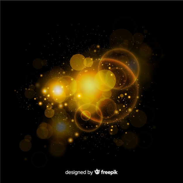 Golden floating particle space effect Free Vector