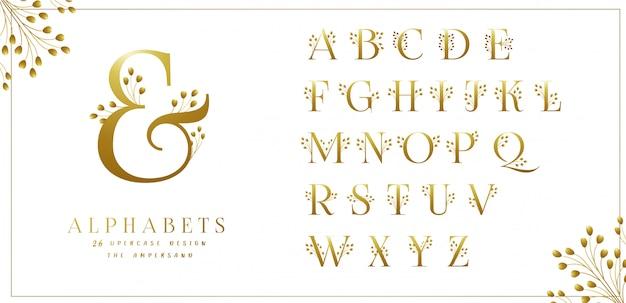 Golden floral alphabets collection Premium Vector