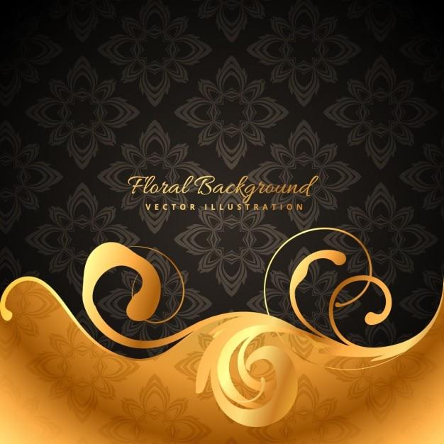 Golden floral background Free Vector