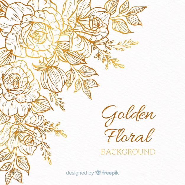 Golden floral background Free Vector