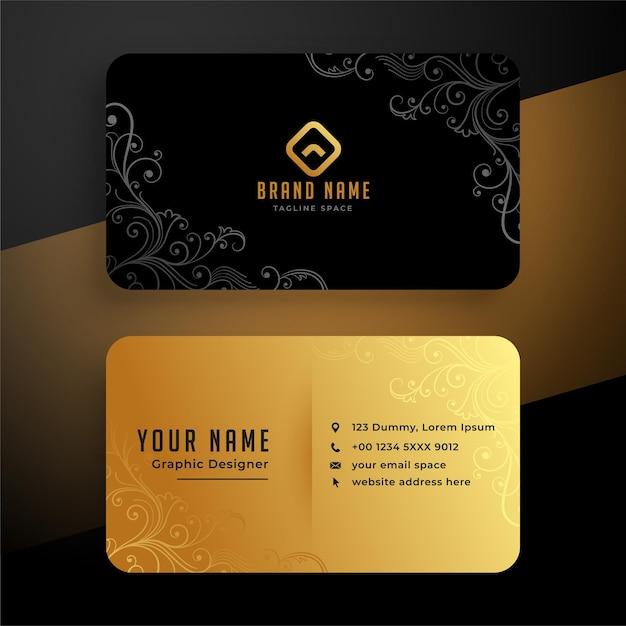 Golden floral business card template design Free Vector