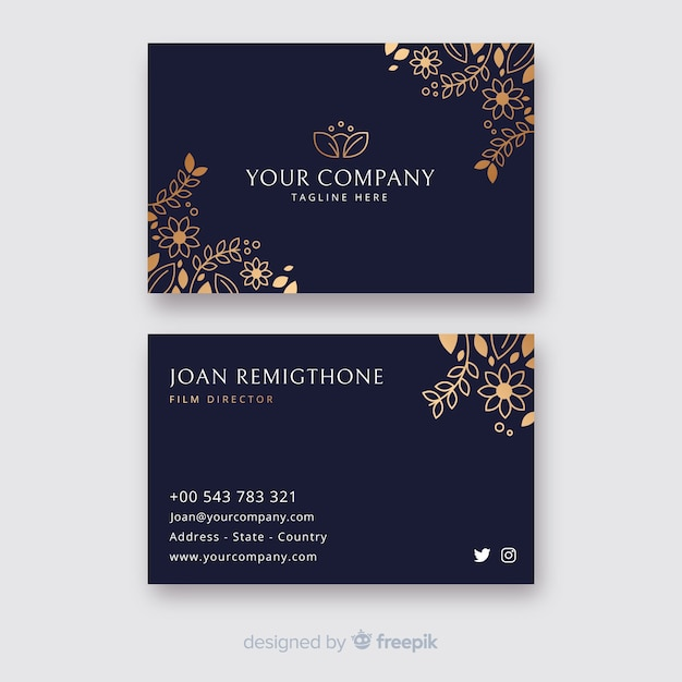 Golden floral business card template Free Vector