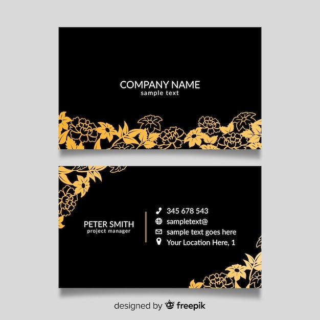 Gold Water Drop Olive Oil Logo And Business Card Design: Golden Floral Business Card Template