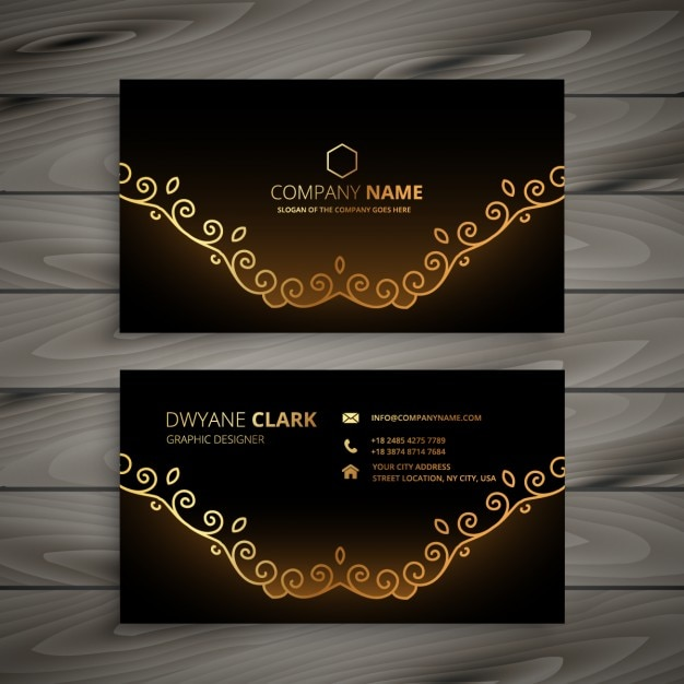 Golden floral business card vector free download golden floral business card free vector reheart Image collections