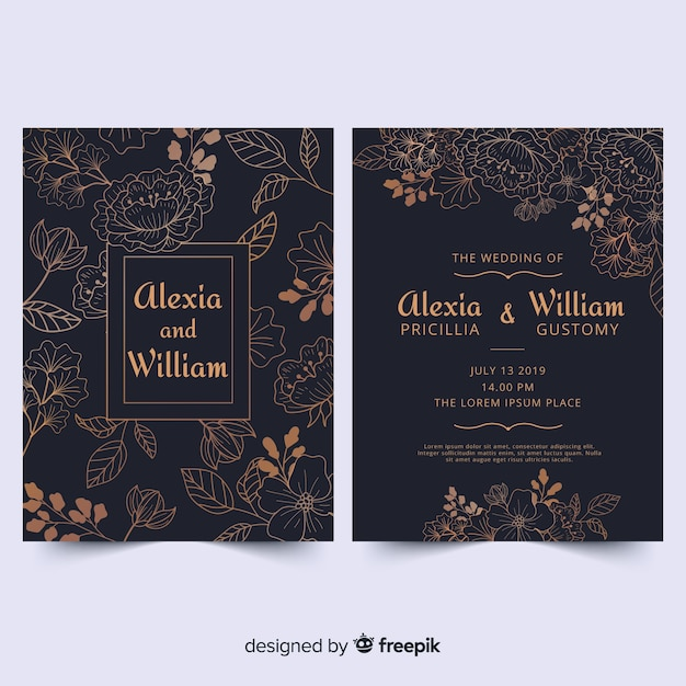 Golden floral cards collection Free Vector