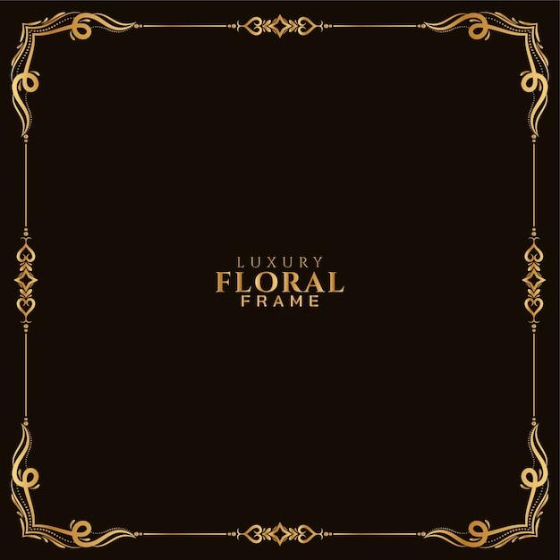 Golden floral frame design ornamental background Free Vector