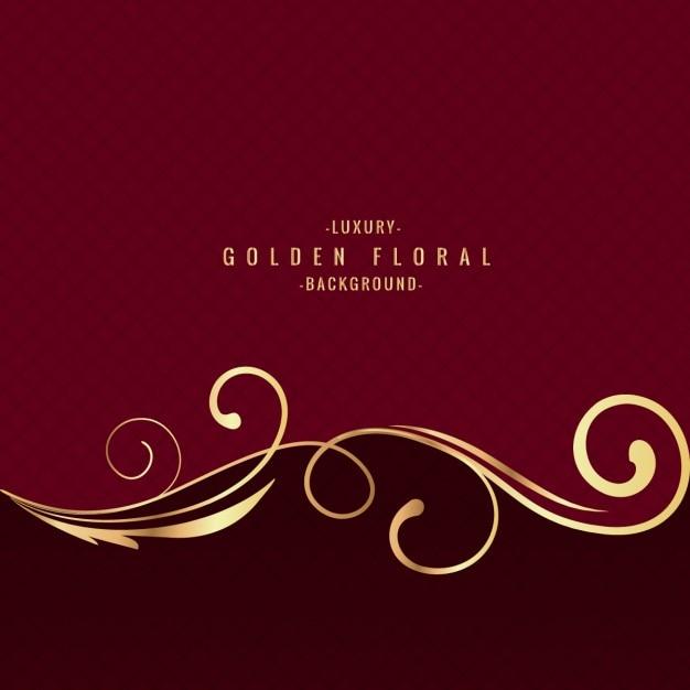 Golden floral background di lusso Vettore gratuito