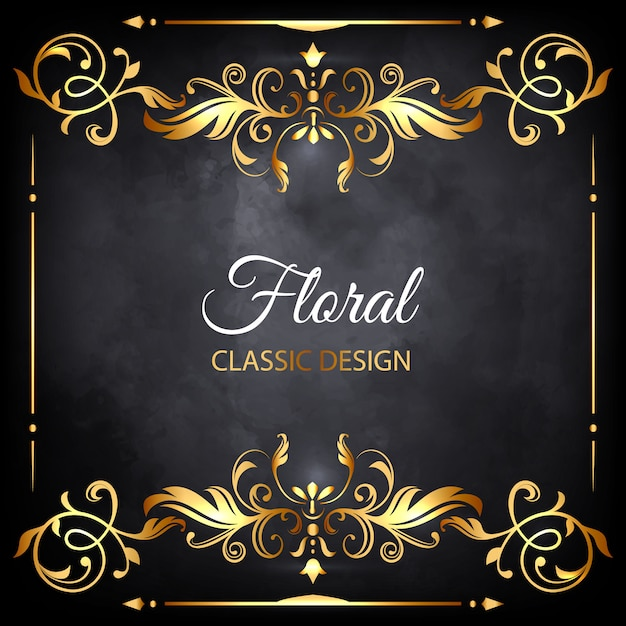 golden floral luxury frame Free Vector