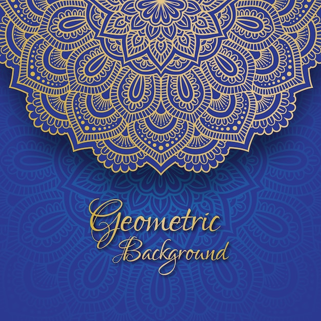 Golden floral mandala lace illustration. Premium Vector