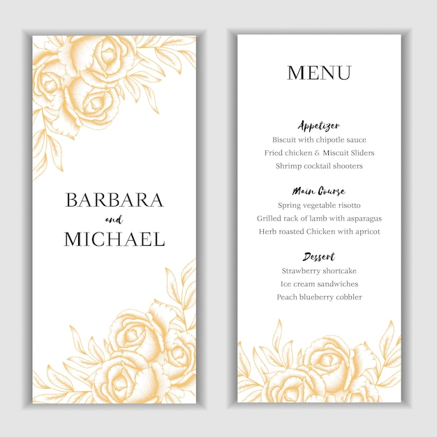 Golden floral menu card template Premium Vector