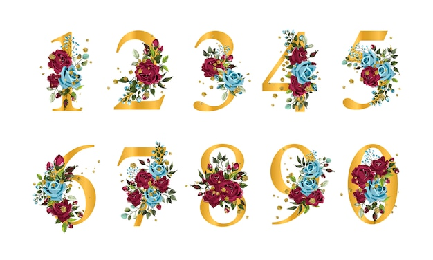 Golden floral numbers with flowers bordo navy blue roses leaves and gold splatters isolated Free Vector