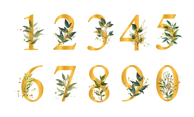 Golden floral numbers with green leaves and gold splatters isolated Free Vector