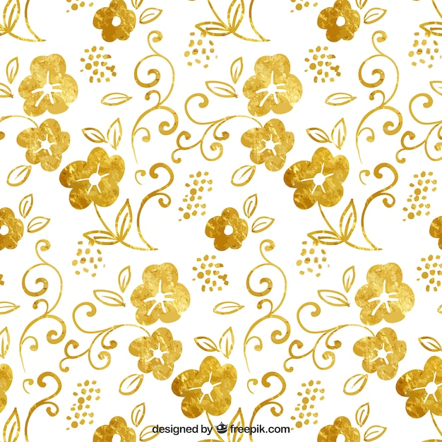 Golden floral pattern Free Vector