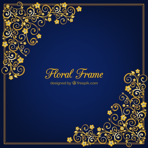 Golden Floral Vector Frame Vector Free Download