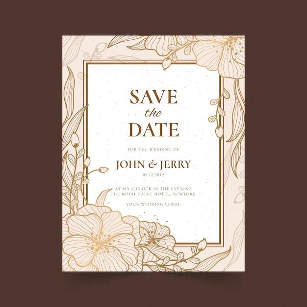 premium vector  golden floral wedding invatation card