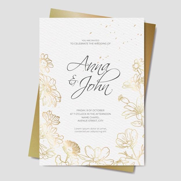 Invito a nozze floreale dorato Vettore gratuito