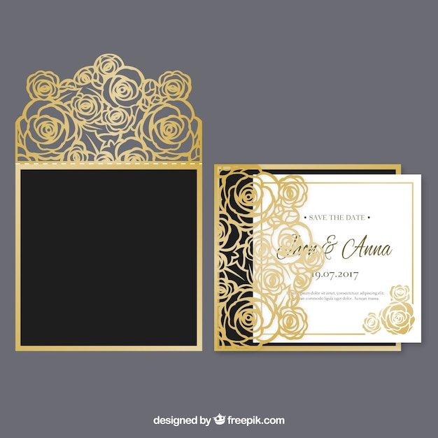 Golden floral wedding invitation vector free download golden floral wedding invitation free vector stopboris Image collections