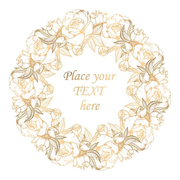 Golden floral wreath with peonies Premium Vector