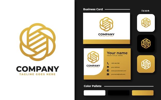 Golden flower logo template and business card Premium Vector