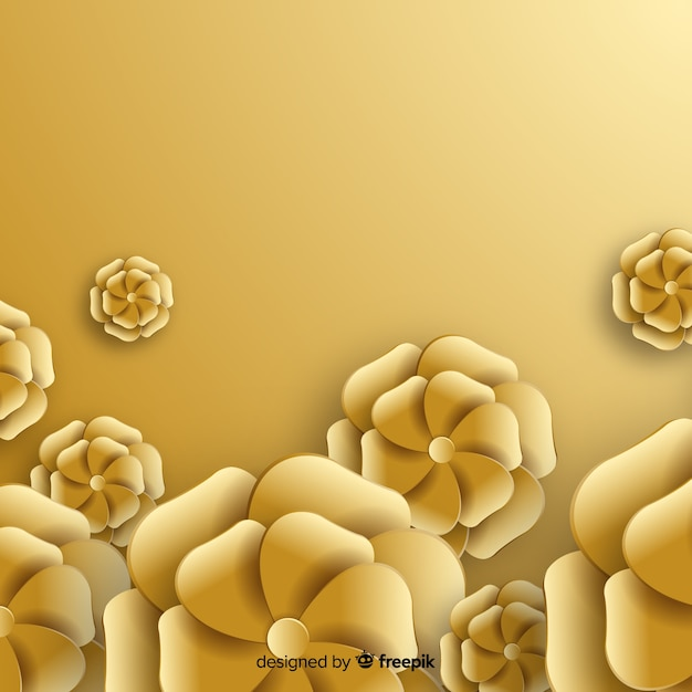 Golden flowers background flat style Free Vector