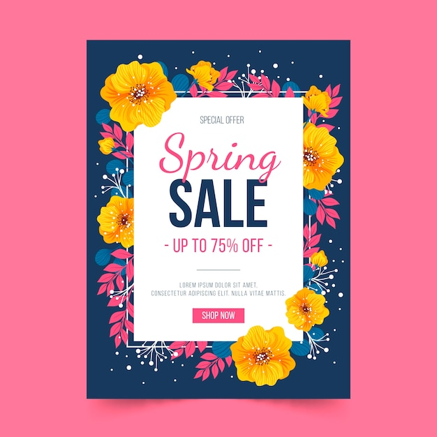 Golden flowers and spring flyer template Free Vector